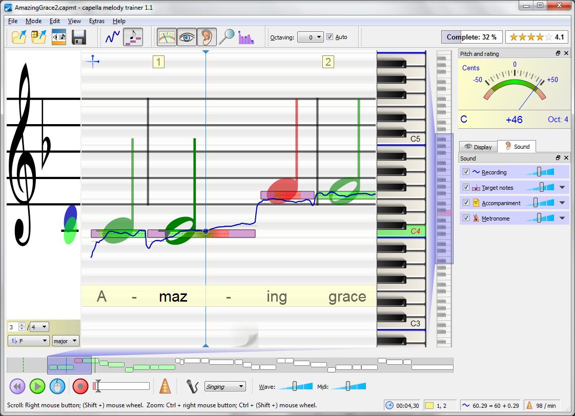 Übersicht capella melody trainer